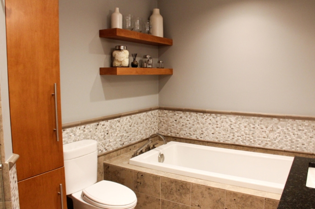 Bath storage in bath remodeled by Martin Bros. Contracting, Inc., Goshen, IN