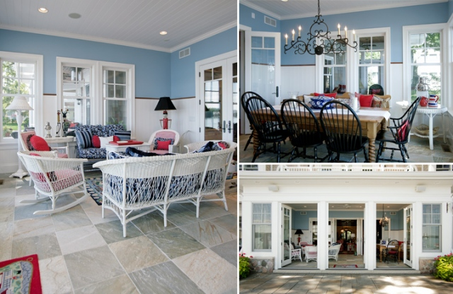 Nautical inspired sunroom in lake home built by Martin Bros. Contracting, Inc.