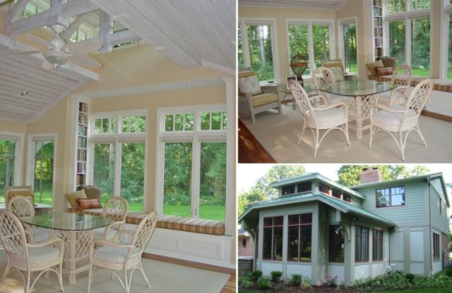 Sunroom addition with cozy reading nook by Martin Bros. Contracting, Inc.
