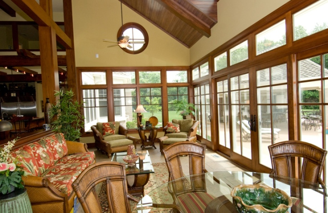 Sunroom in custom built home by Martin Bros. Contracting, Inc.