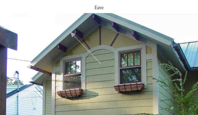 Decorative eave on lake cottage