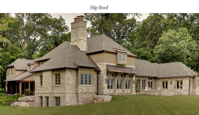 Hip roof example; custom built home by Martin Bros. Contracting, Inc., Goshen, IN